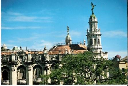 Havana Angel above Grand Theatre Gates and Collonades