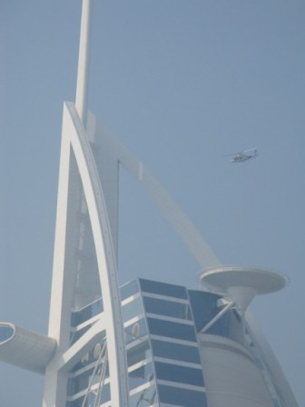 Helicopter above helipad at the Burj Al Arab Dubai