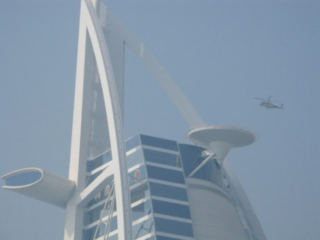 Helicopter shuttle approaching helipad at the Burj Al Arab Dubai