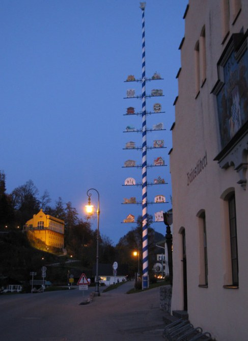 Hohenschwangau Castle Chapel and Maypole at dusk