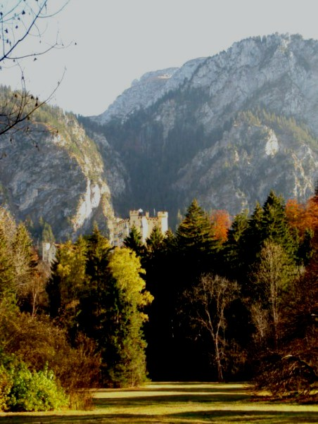 Hohenschwangau Castle amongst autumn trees