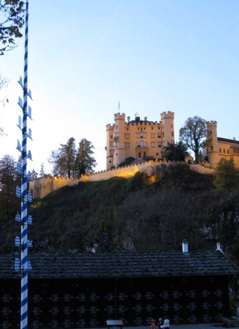 Hohenschwangau Castle and Maypole at dusk