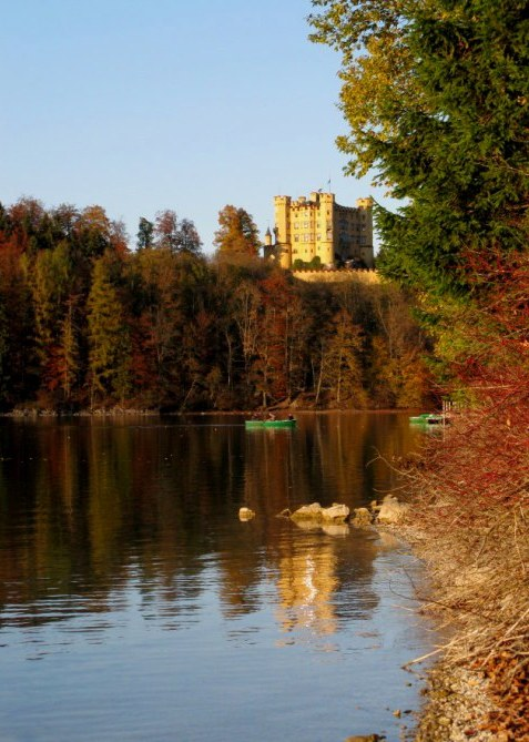 Hohenschwangau Castle and canoes on Alpsee