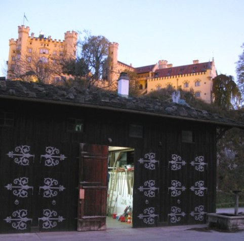 Hohenschwangau Castle at dawn above old stables
