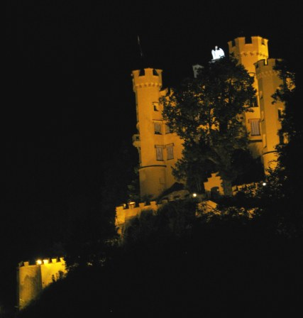 Hohenschwangau castle at night