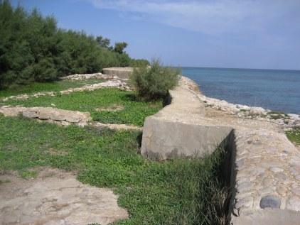 Kerkouane sea wall in Tunisia