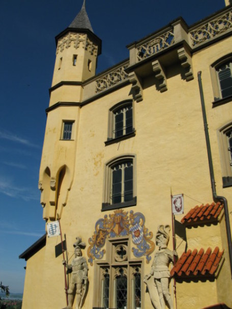 Knight statues above carriage entrance to Hohenschwangau Castle Bavaria
