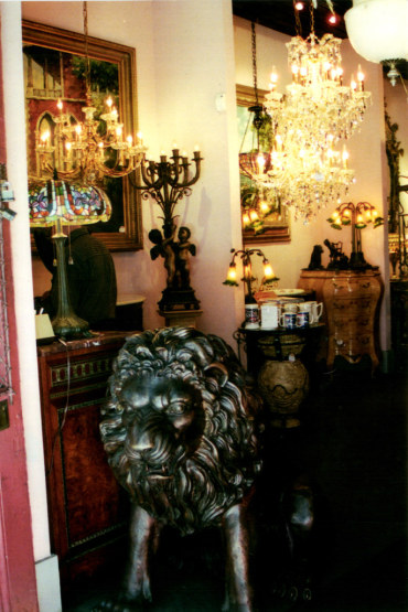 Lion in antique shop in the French Quarter New Orleans