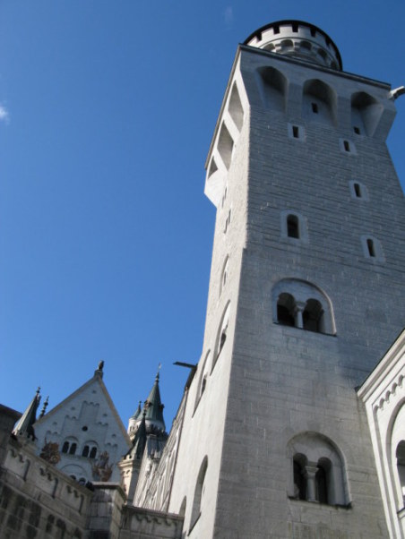 Looking up at the towers of Neuschwanstein Castle