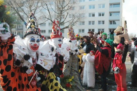 Mainz Carnival Parade Rosenmontag clowns and children