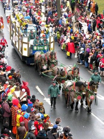 Mainz Carnival Parade Rosenmontag horse-drawn float