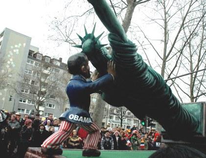 Mainz Carnival Parade Rosenmontag Obama Float