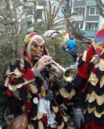 Mainz Carnival Parade Rosenmontag masked trumpeter