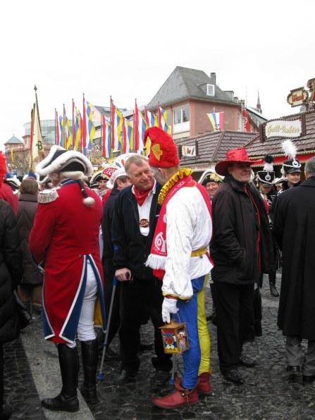Mainz Carnival Sunday Bajass jester with friend