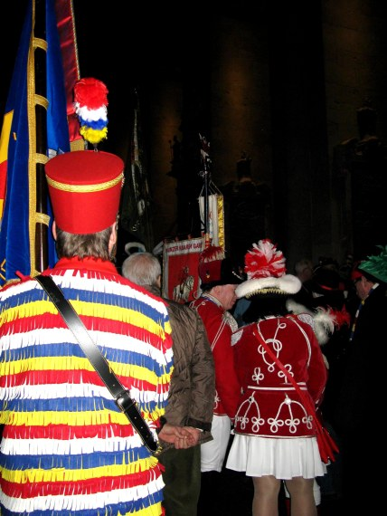 Mainz Carnival Sunday colourful Gardes in cathedral