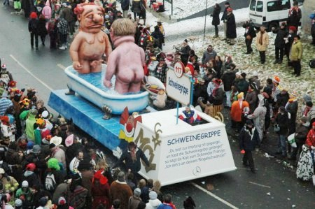 Mainz Carnival Parade Swine Flu Float
