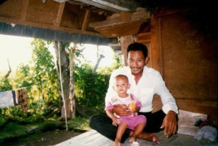 Man and child in Bali mountain village