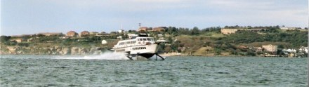 Manly hydrofoil raised on its foils