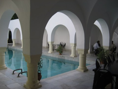 Marble pool and inner Courtyard Dar Sebastian Hammamet Tunisia
