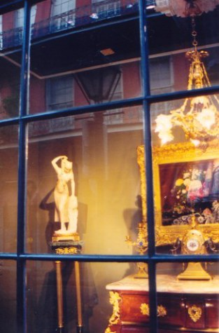 Marble statue and art  in the French Quarter New Orleans