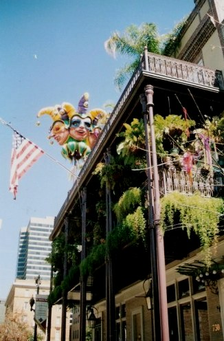 Mardi Gras decorated New Orleans balcony