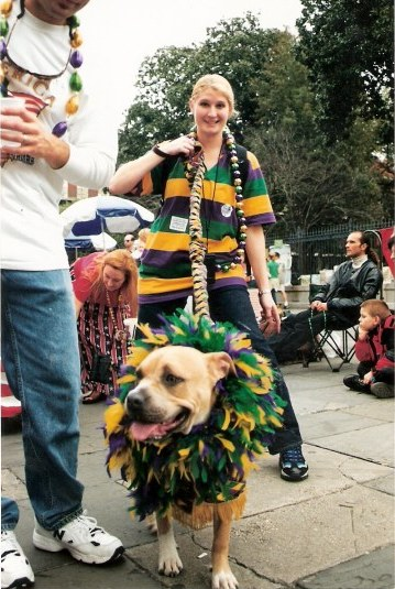 Mardi Gras feather hound at Krewe of Barkus Parade New Orleans