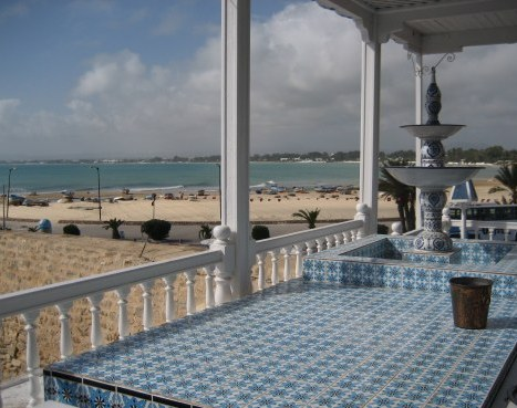 Mosaic table top in beachside restaurant in Hammamet Tunisia