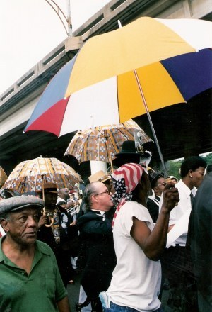 Mourners with parasols Jazz Funeral New Orleans