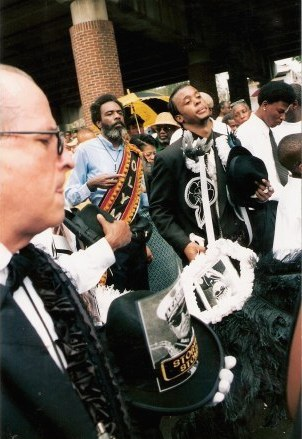 Mourning musicians at Jazz Funeral New Orleans