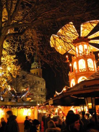 Munich Christmas Market Rindermarkt Square Pyramid Gluewein