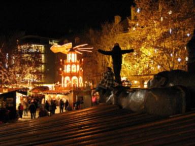 Munich Christmas Market Rindermarkt children riding bulls