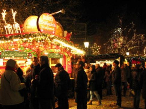 Munich Christmas Market cherry gluewein in Rindermarkt Square