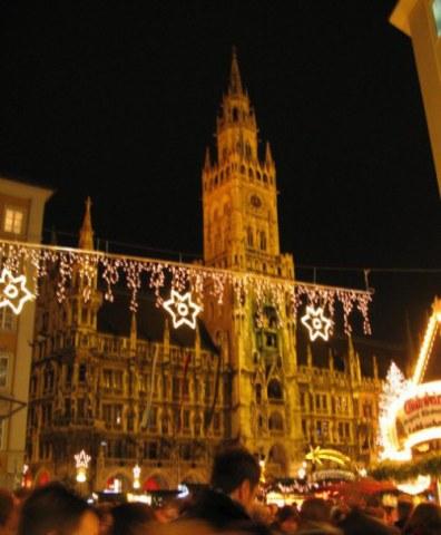 Munich Christmas Market with crowded Marienplatz
