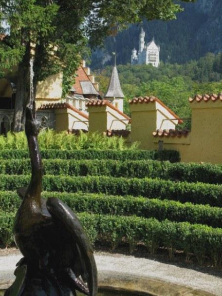 Neuschwanstein and the Swan Fountain of Hohenschwangau Castle Bavaria