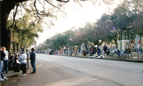 New Orleans parade route with waiting families