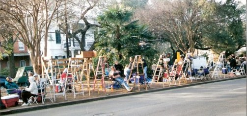 New Orleans Parade route with ladders
