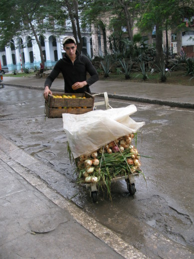 Onions and oranges on street trolley Havana Cuba