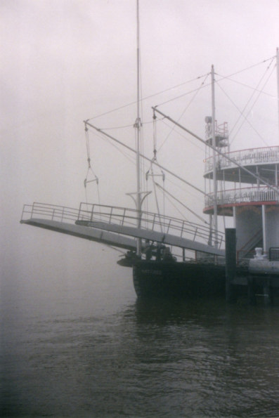 Paddle steamer in fog New Orleans