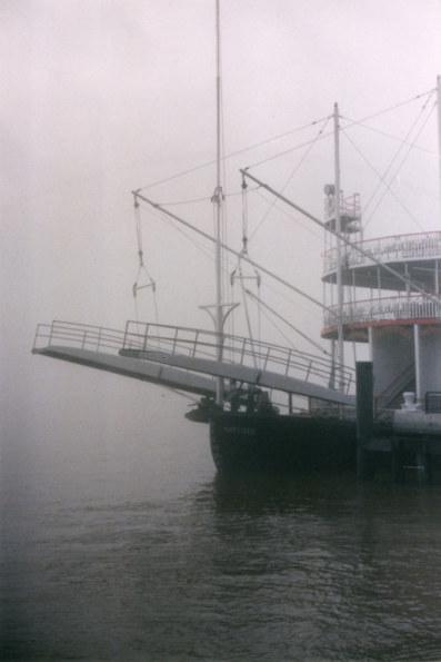 Paddle steamer in fog New Orleans