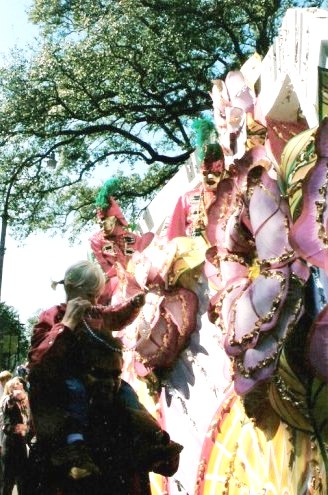 Parade float beads New Orleans Mardi Gras