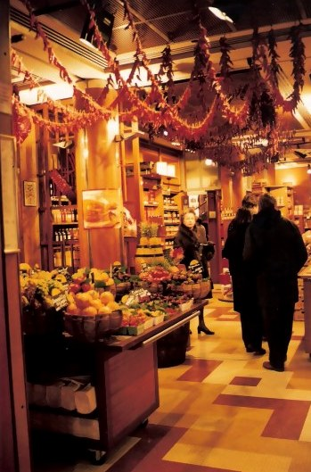 Red pepper  garlands in Paris food shop