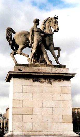 Statue of Roman Soldier and Horse Trocadéro Gardens Paris