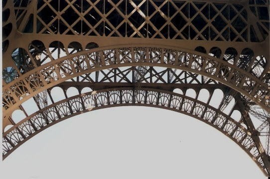 Detailed patterns within the structure of the Eiffel Tower Arch