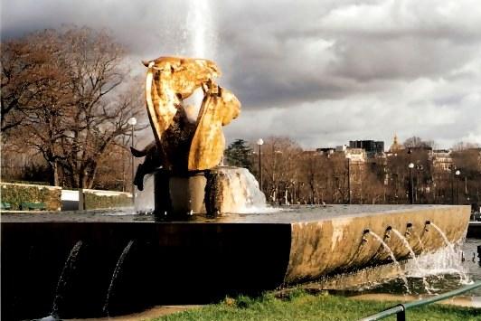 Bronze Horse Heads in Fountain Trocadéro Gardens Paris