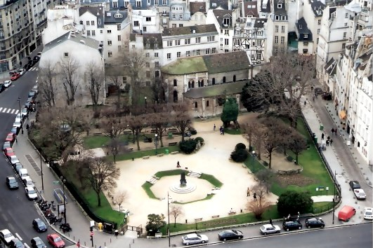 View of  neighbourhood square below from Notre Dame Cathedral Paris