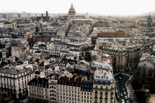 The impact of Baron Hausemann's redesigning of Paris seen from Notre Dame