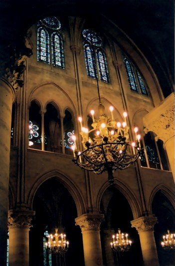 Paris Notre Dame Cathedral Interior lights
