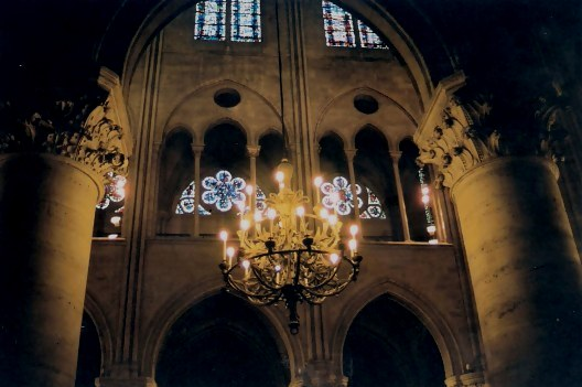 Notre Dame Cathedral Paris Chandelier framed by Rose Windows
