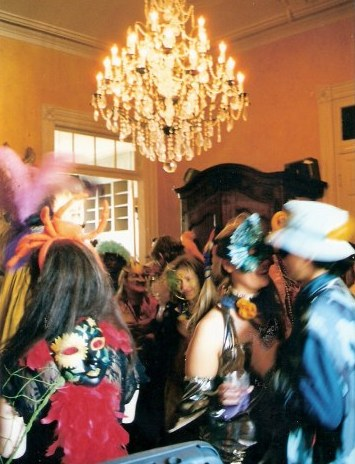 Party crowd French Quarter balcony party during New Orleans Mardi Gras