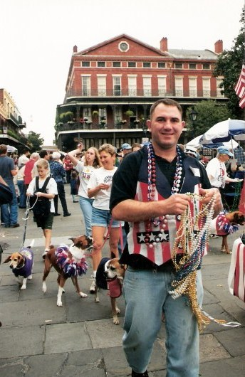 Patriotic dogs at Krewe of Barkus Parade New Orleans